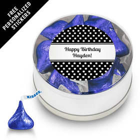 Birthday Personalized Small Silver Plastic Tin Polka Dot (25 Pack)