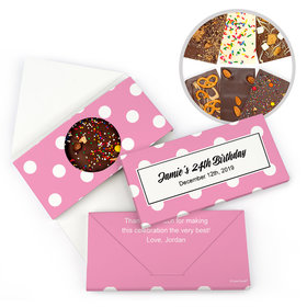 Personalized Birthday Polka Dots Birthday Gourmet Infused Belgian Chocolate Bars (3.5oz)