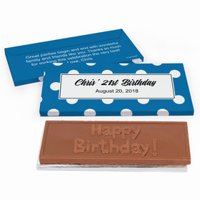 Deluxe Personalized Birthday Dots Birthday Chocolate Bar in Gift Box