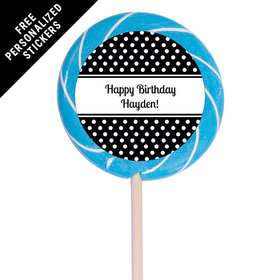 "Birthday Personalized 3"" Swirly Pop Polka Dot (12 Pack)"