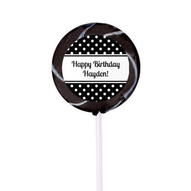 Birthday Personalized Small Swirly Pop Polka Dot (24 Pack)
