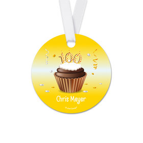 Personalized Birthday 100th Birthday Cupcake Round Favor Gift Tags (20 Pack)