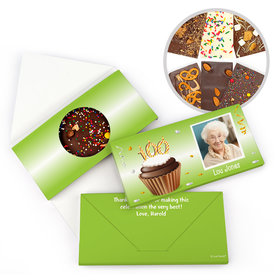 Personalized 100th Cupcake Photo Milestone Birthday Gourmet Infused Belgian Chocolate Bars (3.5oz)