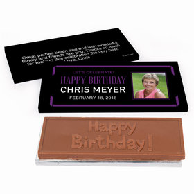 Deluxe Personalized Celebrate Photo Adult Birthday Chocolate Bar in Gift Box