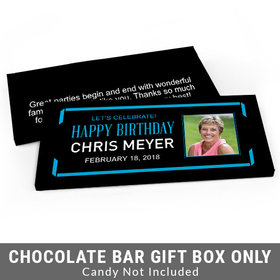 Deluxe Personalized Celebrate Photo Adult Birthday Candy Bar Favor Box