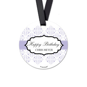 Personalized Birthday Baroque Monogram Round Favor Gift Tags (20 Pack)