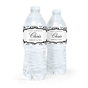 Personalized Birthday Baroque Pattern Water Bottle Sticker Labels (5 Labels)