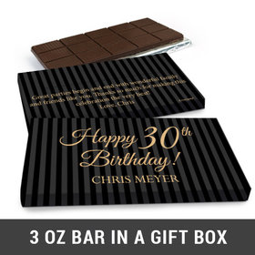 Deluxe Personalized 30th Milestones Stripes Belgian Chocolate Bar in Gift Box (3oz Bar)