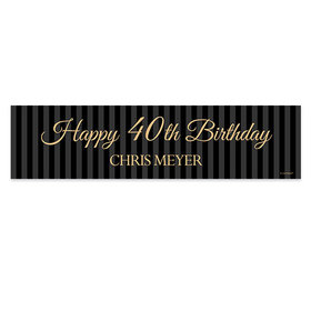 Personalized 40th Regal Stripes Birthday Banner