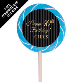 "Milestones Personalized 3"" Swirly Pop 40th Birthday Favors (12 Pack)"