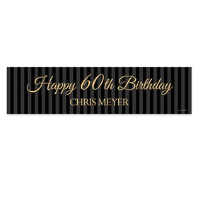 Personalized 60th Regal Stripes Birthday Banner