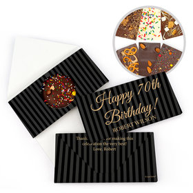 Personalized 70th Formal Stripes Milestone Birthday Gourmet Infused Belgian Chocolate Bars (3.5oz)