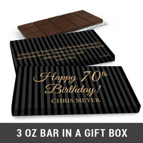 Deluxe Personalized 70th Milestones Stripes Belgian Chocolate Bar in Gift Box (3oz Bar)