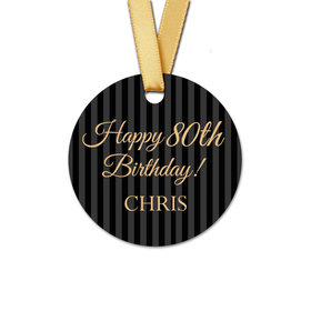 Personalized Birthday Regal Stripes Round Favor Gift Tags (20 Pack)