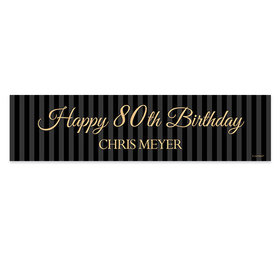 Personalized 80th Regal Stripes Birthday Banner