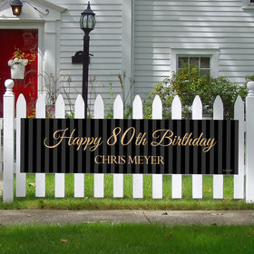 Personalized 80th Regal Stripes Birthday 5 Ft. Banner