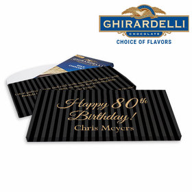 Deluxe Personalized 80th Stripes Birthday Ghirardelli Chocolate Bar in Gift Box