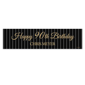 Personalized 90th Regal Stripes Birthday Banner