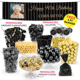 Personalized Milestone 90th Birthday Pinstripes Deluxe Candy Buffet
