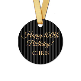 Personalized 100th Birthday Regal Stripes Round Favor Gift Tags (20 Pack)