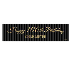 Personalized 100th Regal Stripes Birthday Banner
