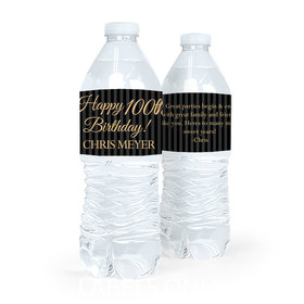 Personalized Milestones Birthday 100th Stripes Water Bottle Sticker Labels (5 Labels)