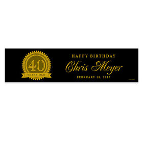 Personalized 40th Certificate Birthday Banner