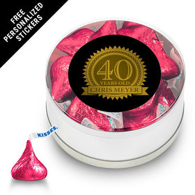 Milestones Personalized Small Silver Plastic Tin 40th Birthday Favors (25 Pack)