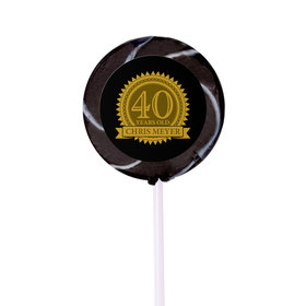 Milestones Personalized Small Swirly Pop 40th Birthday Favors (24 Pack)