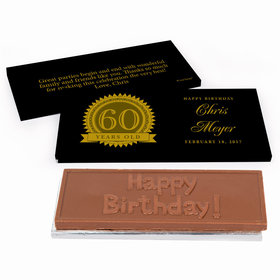 Deluxe Personalized 60th Milestones Seal Birthday Chocolate Bar in Gift Box