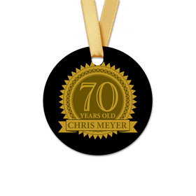 Personalized Birthday 70th Seal Round Favor Gift Tags (20 Pack)