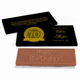 Deluxe Personalized 70th Milestones Seal Birthday Chocolate Bar in Gift Box