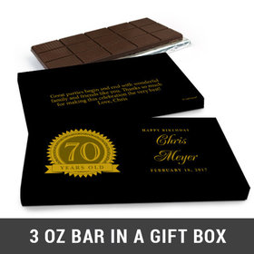Deluxe Personalized 70th Milestones Seal Belgian Chocolate Bar in Gift Box (3oz Bar)