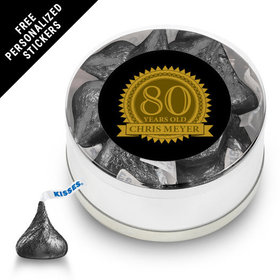 Milestones Personalized Small Silver Plastic Tin 80th Birthday Favors (25 Pack)