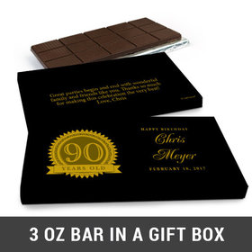 Deluxe Personalized 90th Milestones Seal Belgian Chocolate Bar in Gift Box (3oz Bar)