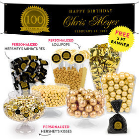 Personalized Milestone 100th Birthday Seal Deluxe Candy Buffet