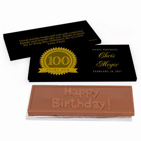 Deluxe Personalized 100th Milestones Seal Birthday Chocolate Bar in Gift Box