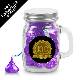 Milestones Personalized Mini Mason Jar 100th Birthday Favors (12 Pack)