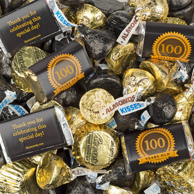 Milestone 100th Birthday Seal Hershey's Miniatures, Kisses and Reese's Peanut Butter Cups