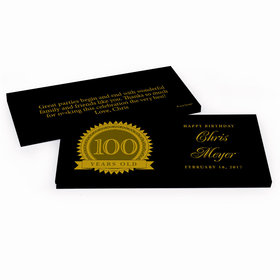 Deluxe Personalized 100th Milestones Seal Birthday Hershey's Chocolate Bar in Gift Box