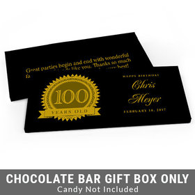 Deluxe Personalized 100th Milestones Seal Birthday Candy Bar Favor Box