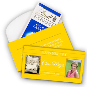 Deluxe Personalized Birthday Monogram Then & Now Lindt Chocolate Bar in Gift Box (3.5oz)