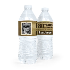 Personalized Milestones Birthday 80th Vintage Photo Water Bottle Sticker Labels (5 Labels)