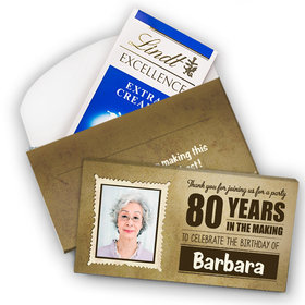 Deluxe Personalized Milestone 80th Birthday Years in the Making Lindt Chocolate Bar in Gift Box (3.5oz)