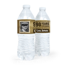 Personalized Milestones Birthday 90th Vintage Photo Water Bottle Sticker Labels (5 Labels)