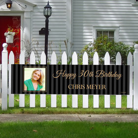 Personalized 30th Pinstripe Photo Birthday 5 Ft. Banner