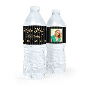 Personalized Milestones Birthday Photo 30th Water Bottle Sticker Labels (5 Labels)