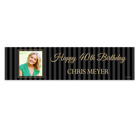 Personalized 40th Pinstripe Photo Birthday Banner
