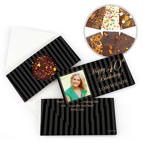 Personalized 40th Photo Pinstripes Milestone Birthday Gourmet Infused Belgian Chocolate Bars (3.5oz)
