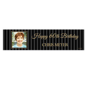 Personalized 60th Pinstripe Photo Birthday Banner